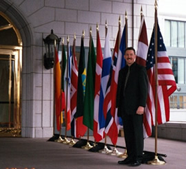 Standing by flags