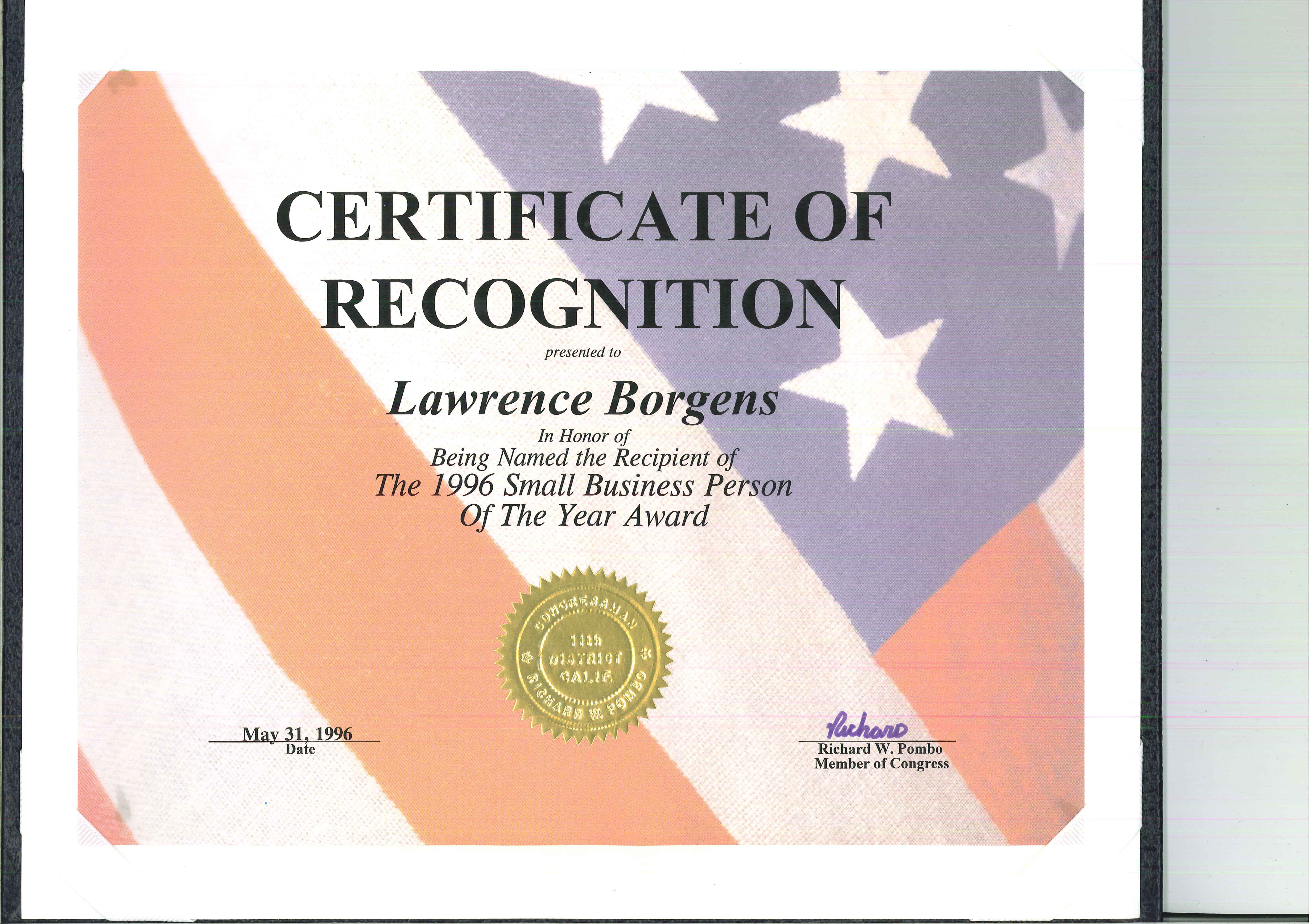California Congress, Certificate of Award Small Business Person of the Year - Lawrence Borgens