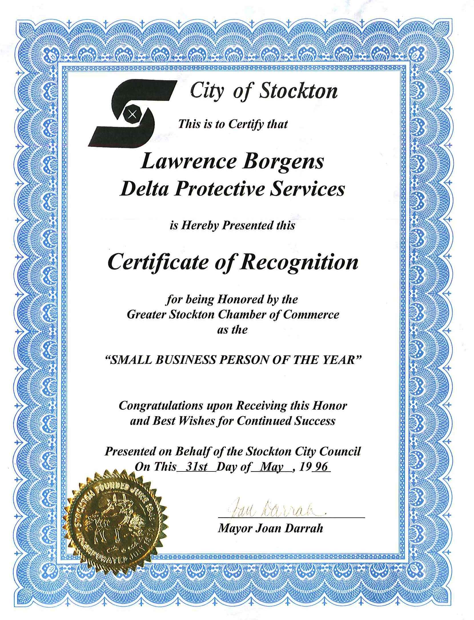 Small Business Person of the Year - City of Stockton